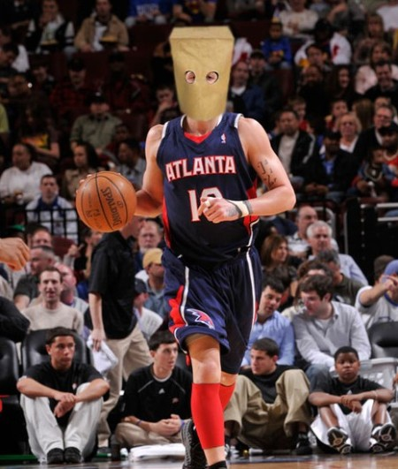 Bibby with a bag on his head